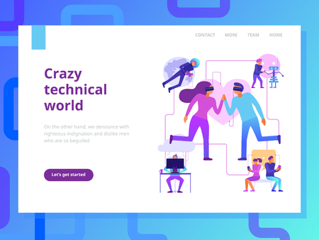 Modern technologies page design with crazy technical world symbols flat vector illustration