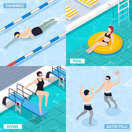 Le icone isometriche di concetto della piscina messe con i simboli di polo e di immersione hanno isolato l'illustrazione di vettore