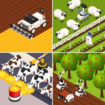 Icone di concetto di fattoria intelligente impostate con illustrazione vettoriale isolata isometrica di animali da fattoria