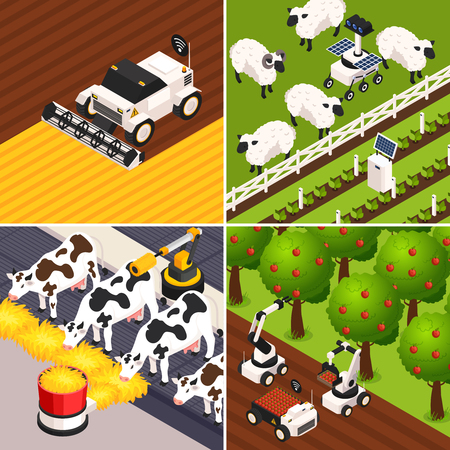 Smart farm concept icons set with farm animals isometric isolated vector illustration Vettoriali