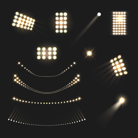 Stadium floodlights lights and lamps realistic set isolated vector illustration