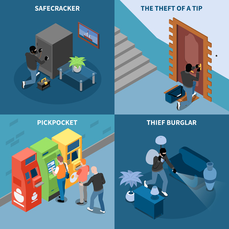 Thief burglar pick pocket and safe cracker theft of tip isometric design concept isolated vector illustration