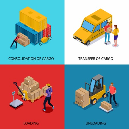 Isometric 2x2 design concept with consolidation loading unloading and delivery of cargoes isolated on colorful background 3d vector illustration