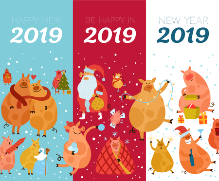 Set of flat vertical banners with piggies and new year greetings isolated on colorful background vector illustration