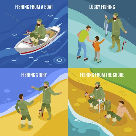 Fishermen during communion and with haul isometric concept catching from boat and at shore isolated  illustration Stock Vector - 110165301