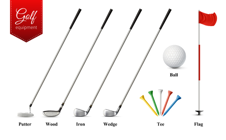 Various golf equipment set with different types of clubs tee ball and flag realistic  isolated vector illustration Иллюстрация