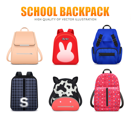 Realistic school education backpack bag baggage set of six isolated school backpacks of different shape and colour vector illustration