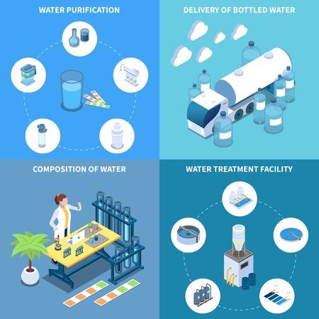 Industrielle und häusliche Wasserreinigungslieferung und Zusammensetzung von Trinkflüssigkeit isometrisches Designkonzept isolierte Vektorillustration Vektorgrafik