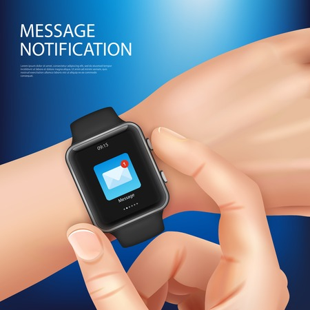 Realistic smart watch new message notification composition with mans hand with a watch vector illustration