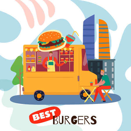 Best burgers concept with fast food and drink symbols flat vector illustration Stock Vector - 128160445