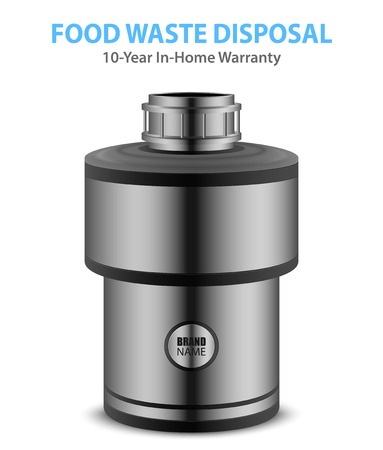 Realistic food waste disposer of grey color for home isolated on white background  illustration Stock Illustratie