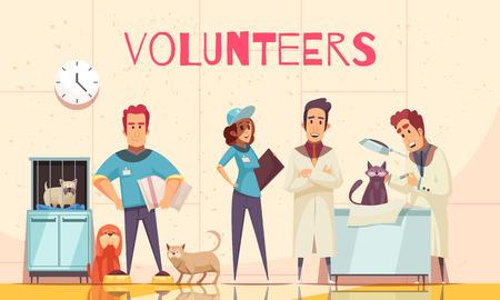 Cartel plano de voluntarios con veterinario en clínica veterinaria examinando mascota enferma entregada por voluntarios ilustración vectorial