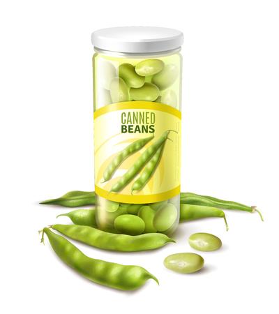 Grüne Bohnen aus der Dose in realistischer Nahaufnahmezusammensetzung des Glases mit weißer Hintergrundvektorillustration der frischen Schoten Vektorgrafik