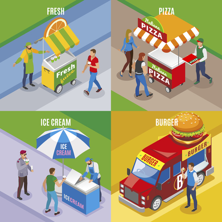 Street food isometric design concept with fresh juice pizza ice cream and burger isolated vector illustration