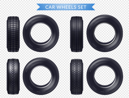 Set of realistic car tires with various tread profile and front view transparent background isolated vector illustration