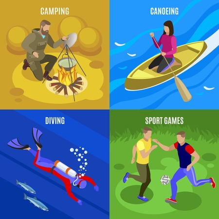 Outdoor activities concept icons set with camping and diving symbols isometric isolated vector illustration Archivio Fotografico - 128160450