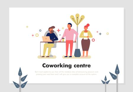 Coworking centrum met mensen die online symbolen platte vector illustratie werken