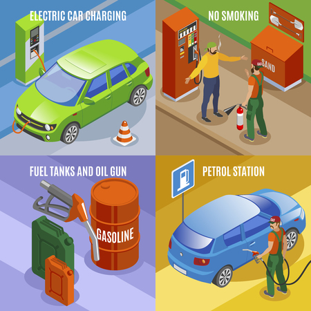 Gas stations refills isometric 2x2 design concept with compositions of car images fuel tanks and text vector illustration Vecteurs