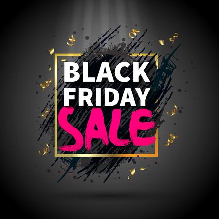 Black friday sale abstract dark background flat vector illustration