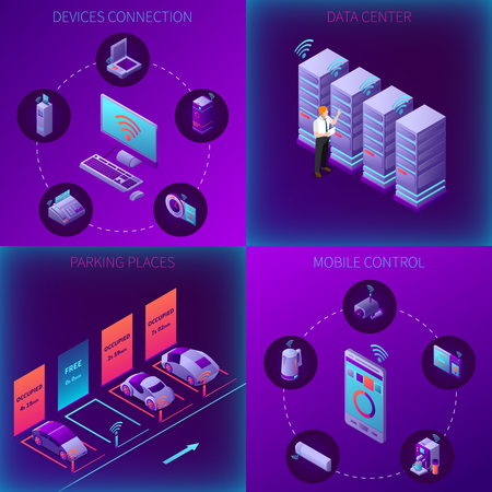 Iot business office isometric concept with devices connection data center parking and mobile control isolated  illustration Illustration