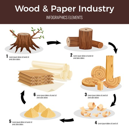 Wood paper manufacturing flat infographic schema from cut logs lumber chips pulp converted to paperboard vector illustration 일러스트