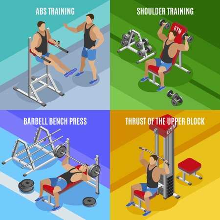 Body building isometric design concept men during workout on various exercise equipment isolated vector illustration