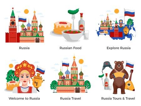 Rusia viajes tours atracciones cultura hitos 6 composiciones planas con símbolos de alimentos tradicionales hitos ilustración vectorial