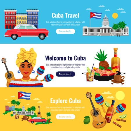 Cuba travel horizontal banners set with  landmarks symbols flat isolated vector illustration 矢量图像