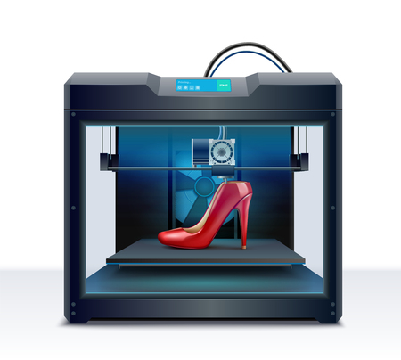 3d printing of red high heeled shoe process isometric composition vector illustration Illustration