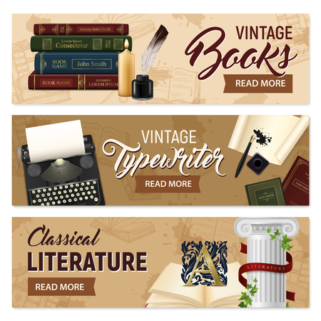 Set of horizontal banners realistic vintage books and typewriter classical literature on beige background isolated vector illustration