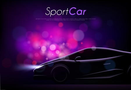 Realistic car dark background with silhouette of sport car body editable text and blurry purple particles vector illustration Banque d'images - 128160464