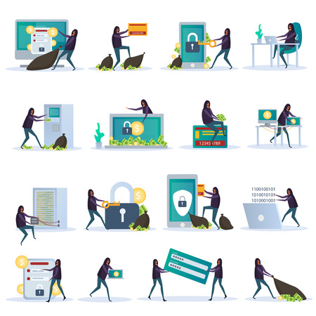 Cyber security set of flat icons electronic devices with data protection and hacker activity isolated vector illustration