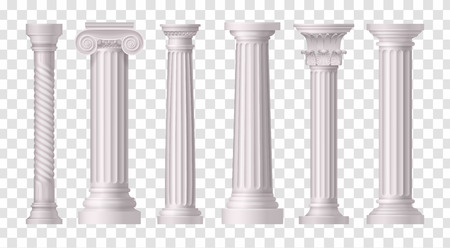 Six isolated and realistic antique white columns icon set on transparent background vector illustration Stock Vector - 128160465