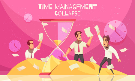 Business concept with office workers catching flying paper sheets and hourglass as symbol of approaching deadline horizontal vector illustration