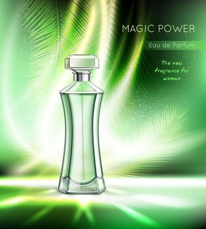 Toilet water perfume eau toilette women fragrance realistic advertising poster with elegant bottle sparkling emerald background vector illustration Stock Vector - 110276402