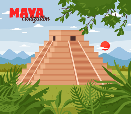 Maya civilization landscape illustration with outdoor jungle scenery with skyline and pyramid shaped ancient maya building vector illustration