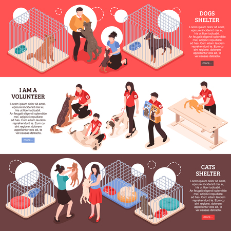Animal shelter for dogs and cats and work of volunteers horizontal isometric banners isolated vector illustration