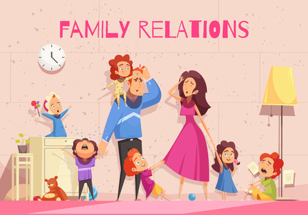 Family relations cartoon poster showing emotion of dejected parents tired of child noise vector illustration