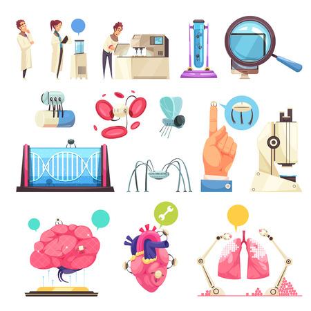 Nanotechnologies icônes décoratives ensemble d'organes humains nano robots micro puces et équipement de laboratoire isolé illustration vectorielle