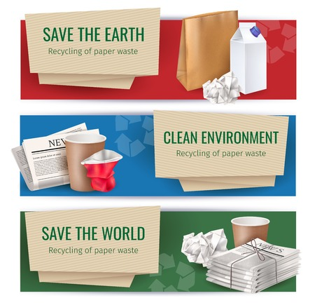 Trash and waste horizontal banners set with clean environment symbols realistic isolated vector illustration Stock Illustratie