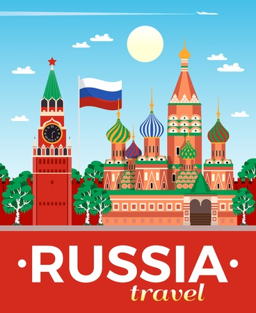 Russia travel agency advertising flat composition poster with national flag kremlin saint basils cathedral moscow vector illustration