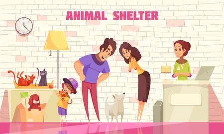 Familia feliz compuesta por padre madre e hijo pequeño adoptando perro de la ilustración de vector plano de refugio de animales