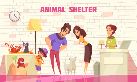 Happy family consisting of mother father and little son adopting  dog from animal shelter flat vector illustration