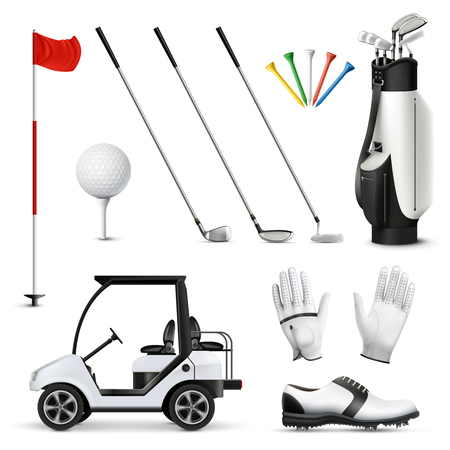 Realistic set of golf equipment and player garment isolated on white background vector illustration