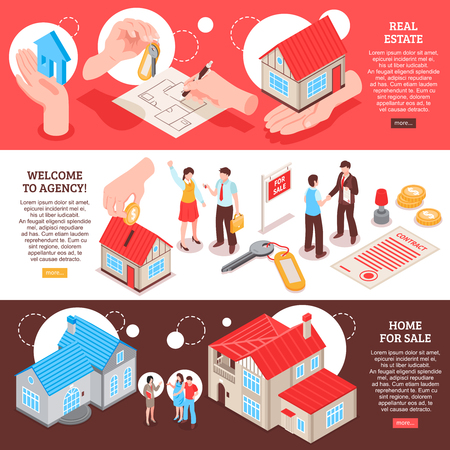 Set of horizontal isometric banners real estate agency with homes for sale colorful background isolated vector illustration Vektorové ilustrace