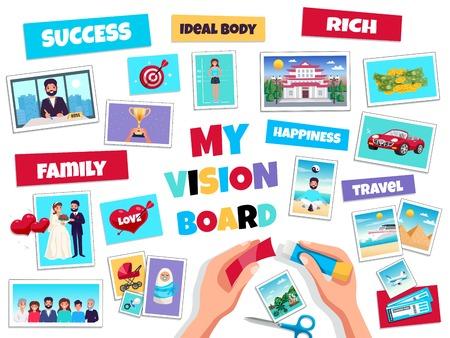 Concepto de tablero de visión de sueños con símbolos de éxito y viajes ilustración vectorial aislada plana