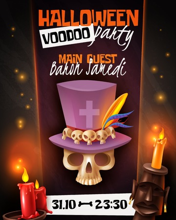 Halloween voodoo party announcement invitation poster with skull in hat mask candles light black background vector illustration