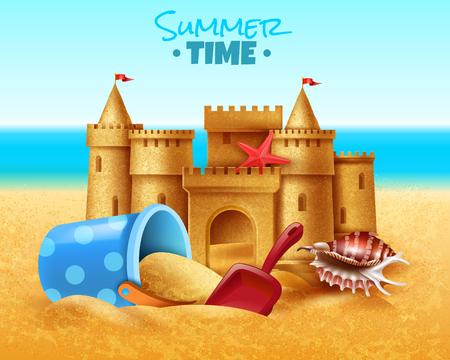 Illustrazione vettoriale realistica dell'ora legale con castello di sabbia e giocattoli per bambini con sabbiera sulla spiaggia del mare del sud