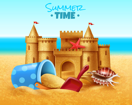 Summer time realistic vector illustration with sand castle and children sandpit toys on south sea beach