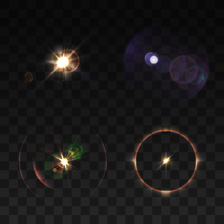 Lens beams and sparkle realistic colored set isolated vector illustration